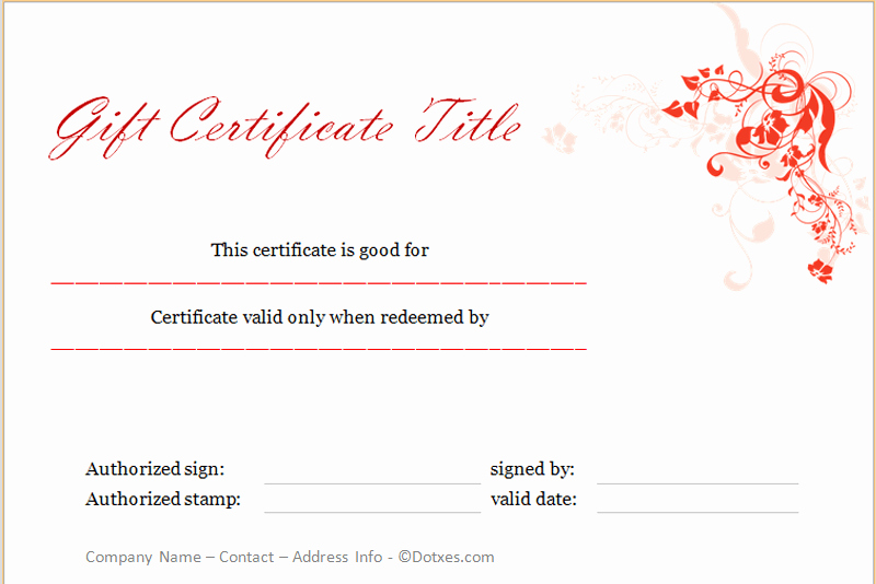Holiday Gift Certificate Template Floral Design Dotxes