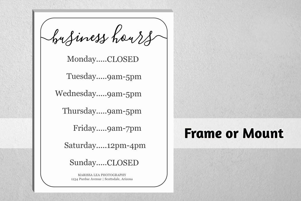 Holiday Hours Sign Printable