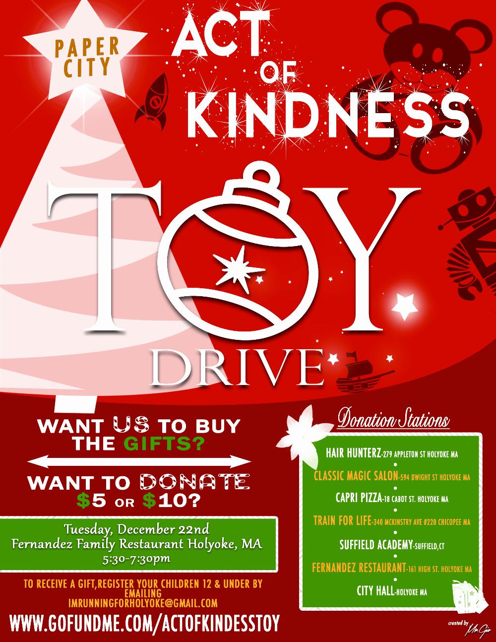 Holyoke Act Of Kindness toy Drive by Harry Melendez Gofundme