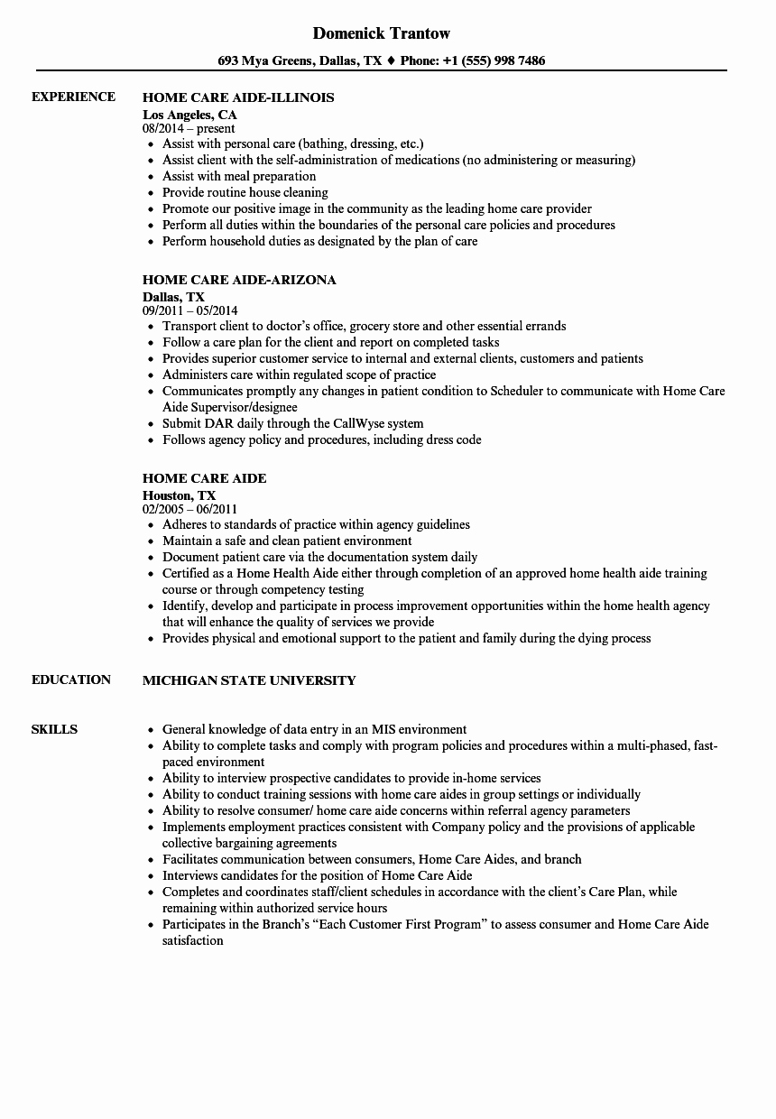 Home Care Aide Resume Samples