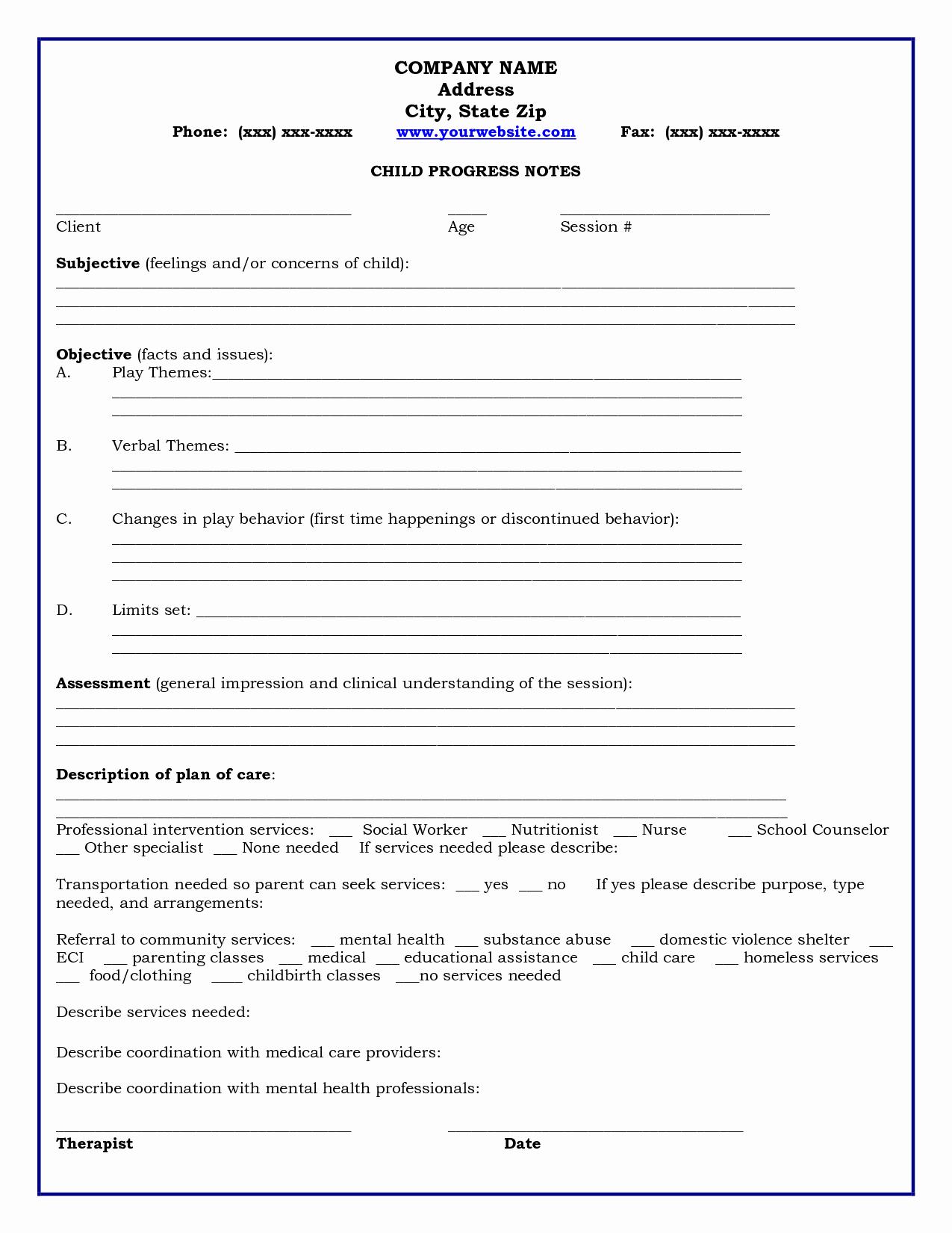 Home Child Progress Notes Medicaid Child Progress