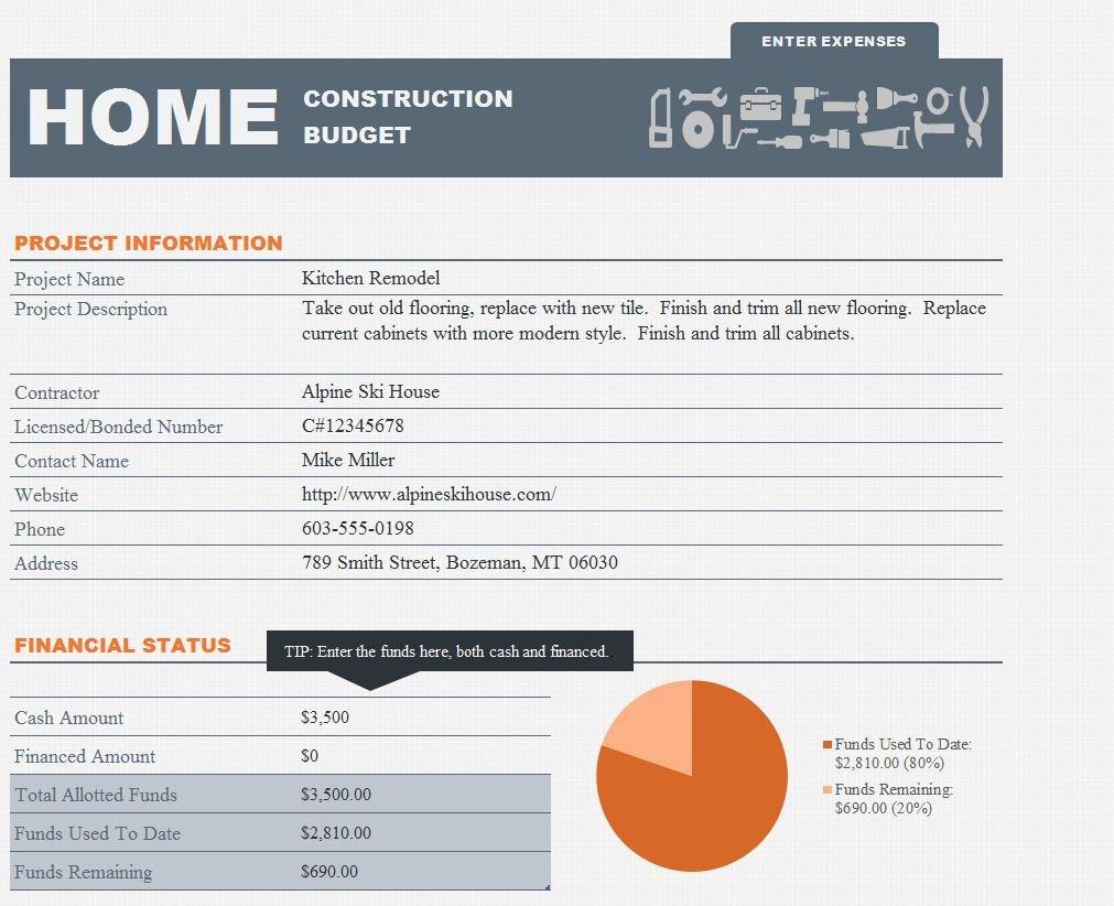 Home Construction Bud Spreadsheet