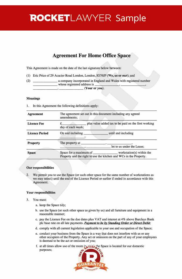 Home Fice Lease Home Fice Rental Agreement Template