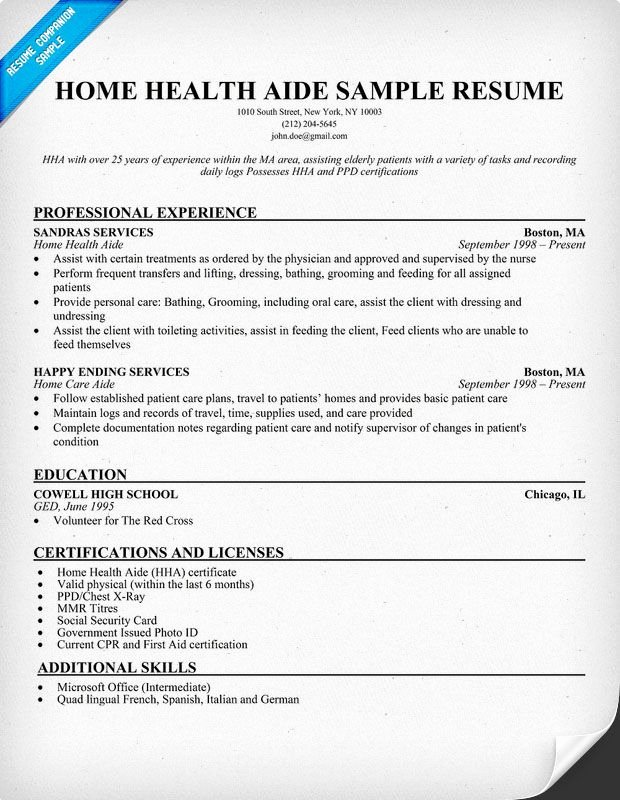 Home Health Aide Resume Example Resume Panion