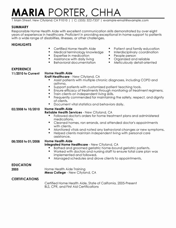 Home Health Aide Resume Examples – Free to Try today