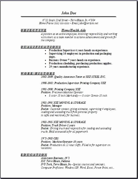 Home Health Aide Resume Occupational Examples Samples