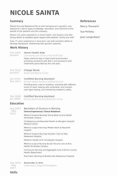 Home Health Care Resume Best Resume Gallery