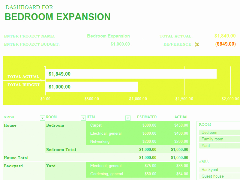 Home Improvement Bud Excel Template Excel Home