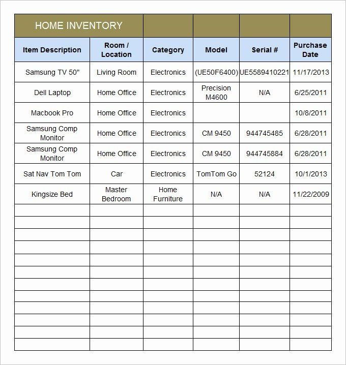 Home Inventory Template 15 Free Excel Pdf Documents