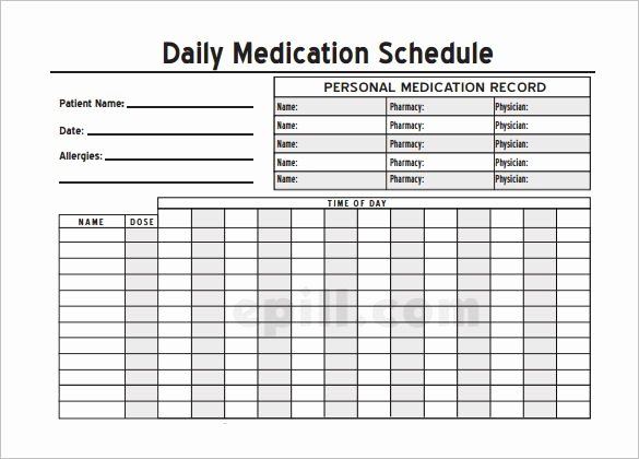 Home Medication Chart Template Printable Daily Medication