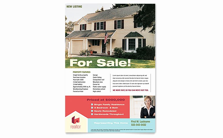 Home Real Estate Flyer Template Word & Publisher