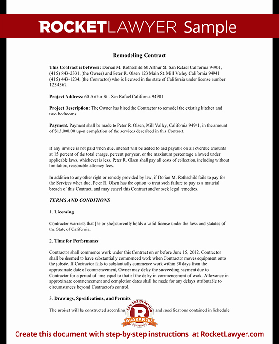 Home Remodeling Contract form with Sample