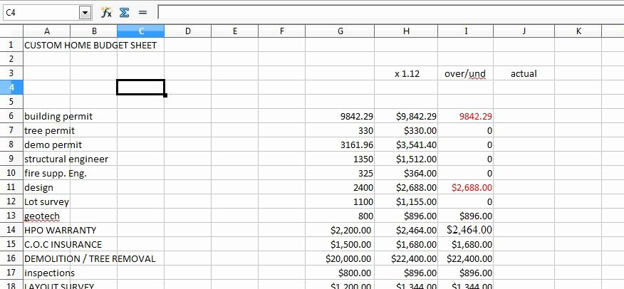 Home Renovation Bud Spreadsheet Excel Free Home