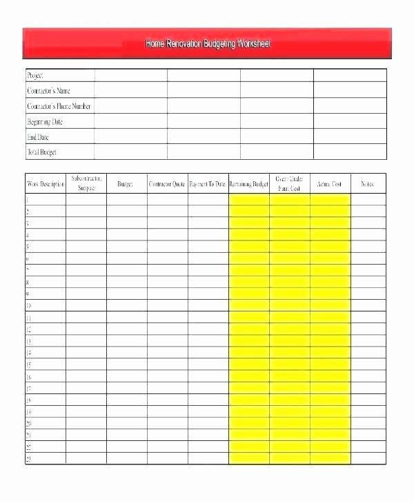 Home Renovation Bud Spreadsheet Template – Azserverfo