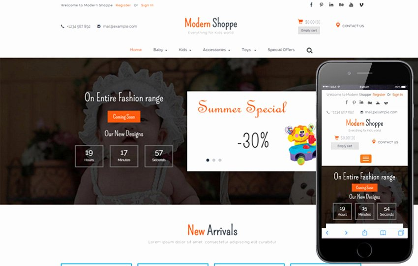 Home Shoppe Line Shopping Cart Mobile Website Template