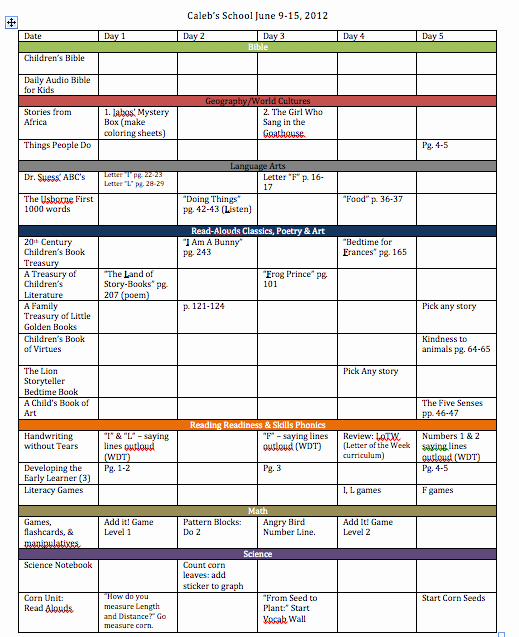 Homeschool Curriculum Homeschool Curriculum Planner Template