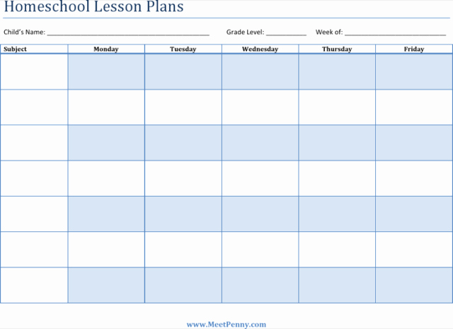 Homeschool Lesson Plan Template Free Download Aashe