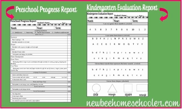 Homeschool Preschool Progress Report and Kindergarten