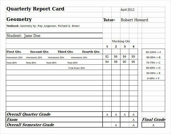 Homeschool Report Card Template 6 Download Documents In