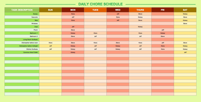 Homework Timetable Printable