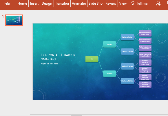 Horizontal Family Tree Chart Template for Powerpoint