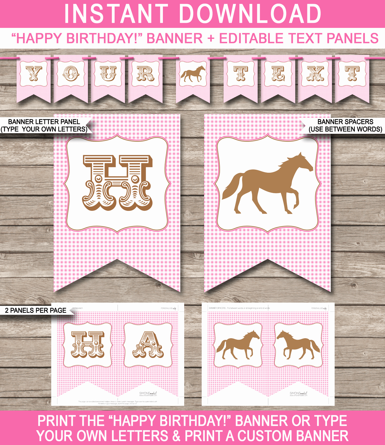 Horse or Pony Party Banner Template
