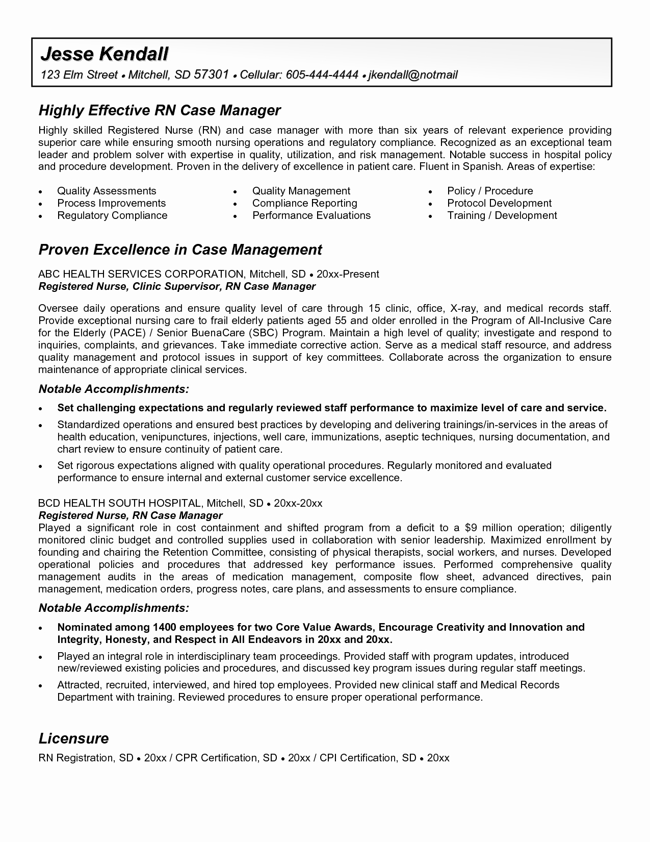 Hospice Rn Case Manager Resume