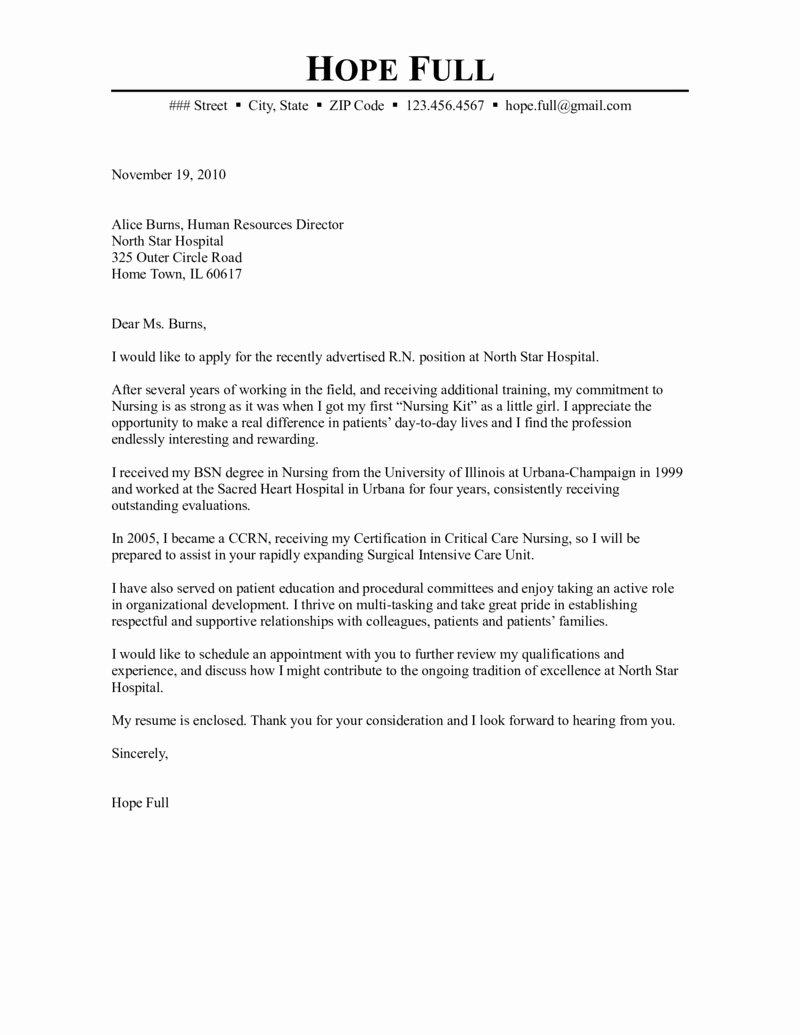 Hospital Cover Letter