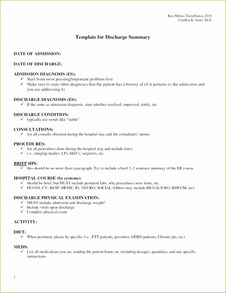 Hospital Discharge Summary format Pdf Papers Template