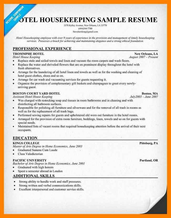 Hospital Housekeeping Resume Latter Example Template