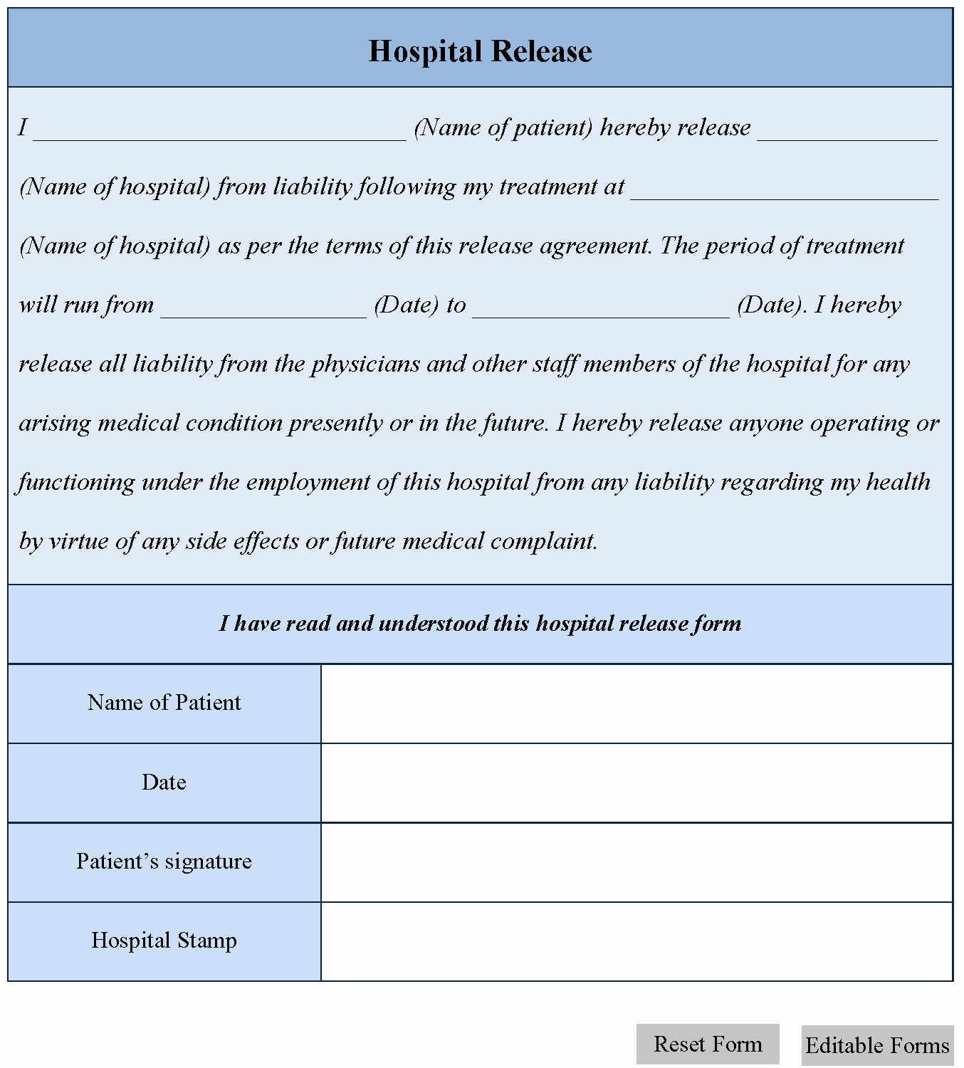 Hospital Release form
