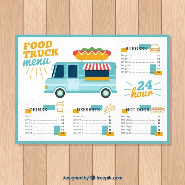 Hot Dog Food Truck Menu Template Vector