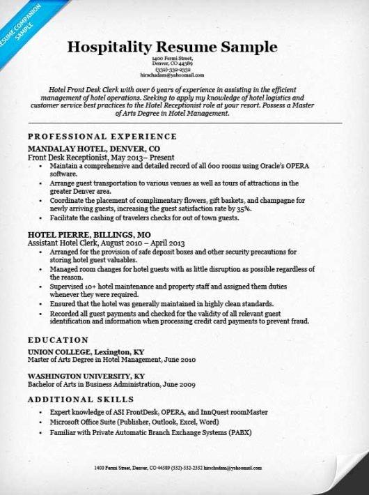 Hotel Clerk Resume Sample