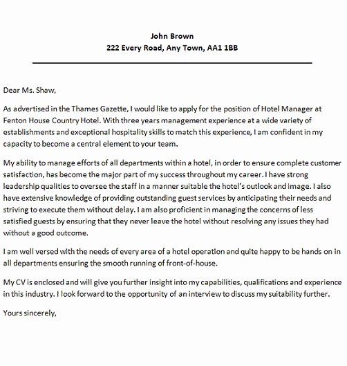 Hotel Cover Letter Sample Letter Of Re Mendation