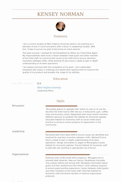 Hotel Front Desk Agent Resume Best Resume Collection