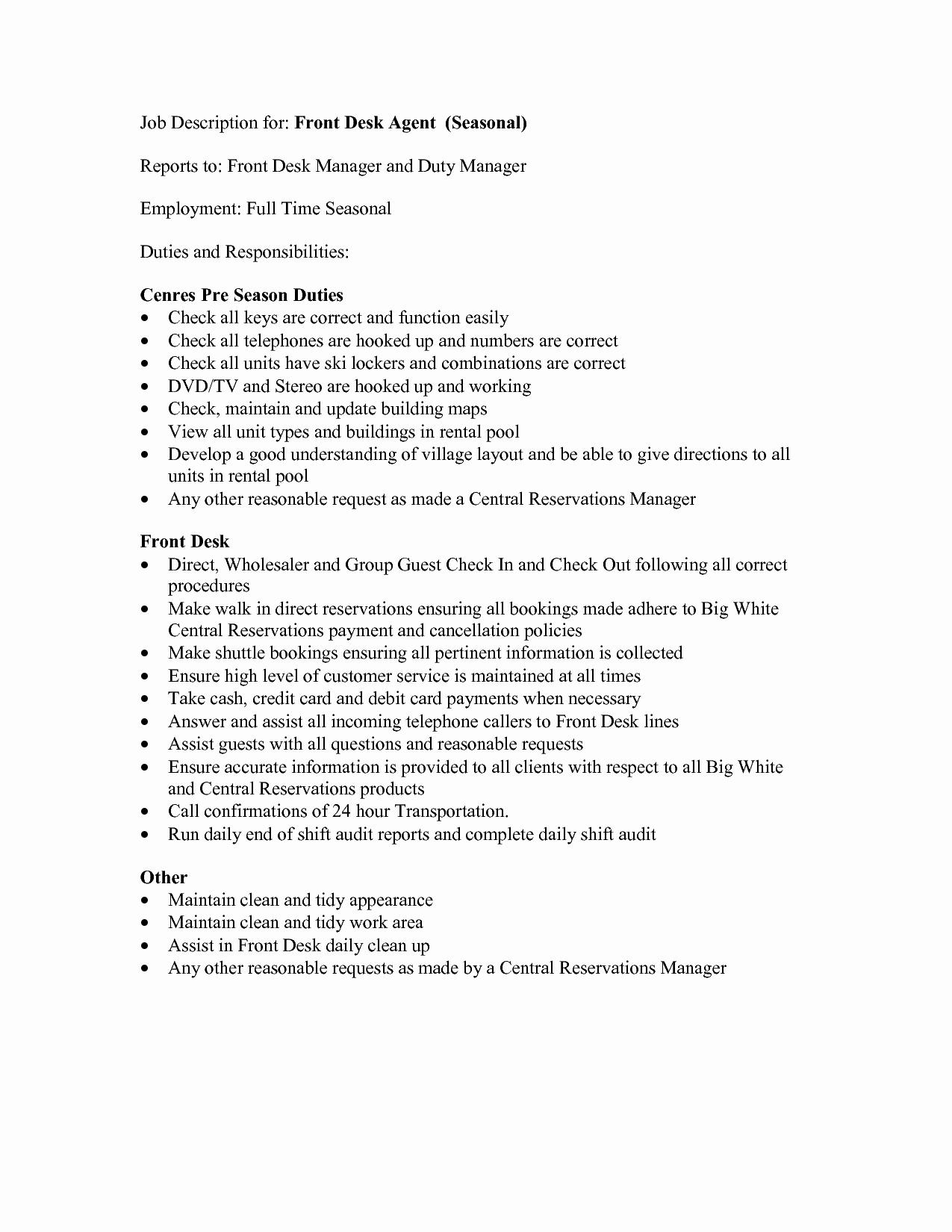 Hotel Front Desk Job Description