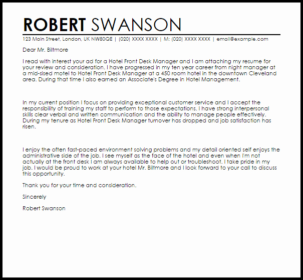 Hotel Front Desk Manager Cover Letter Sample