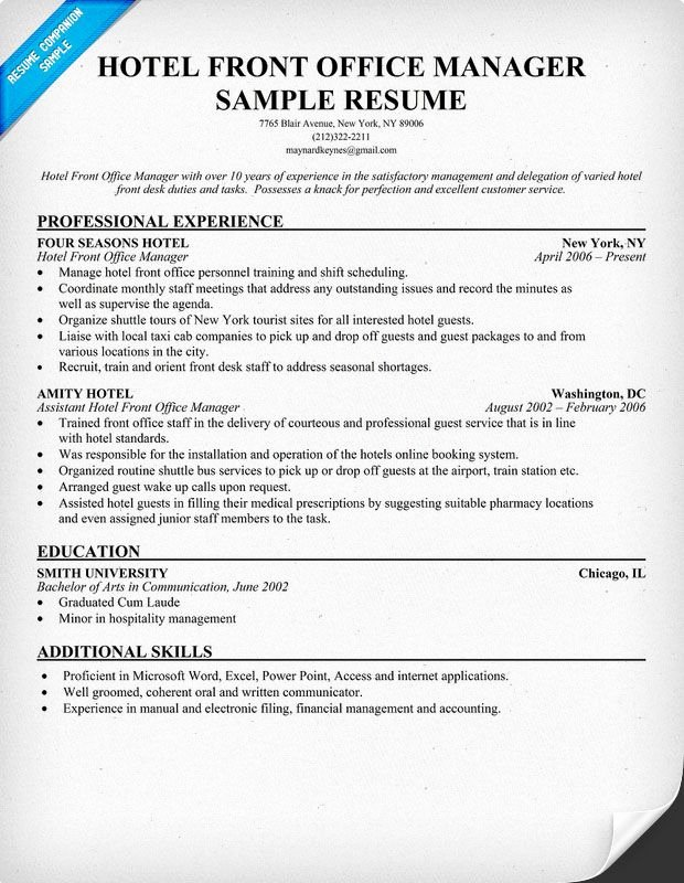 Hotel Front Fice Manager Resume Resume Panion