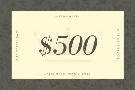 Hotel Gift Certificate Templates Canva