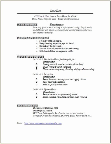 Hotel Housekeeping Resume Sample