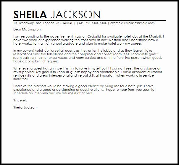 Hotel Job Sample Cover Letter