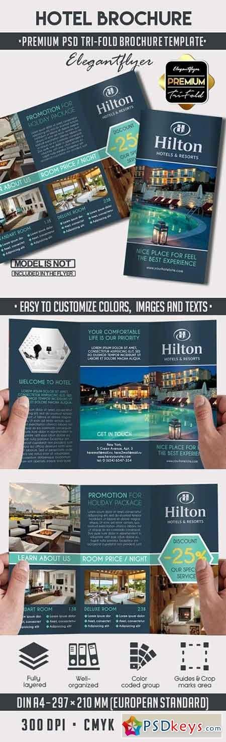Hotel – Premium Tri Fold Psd Brochure Template