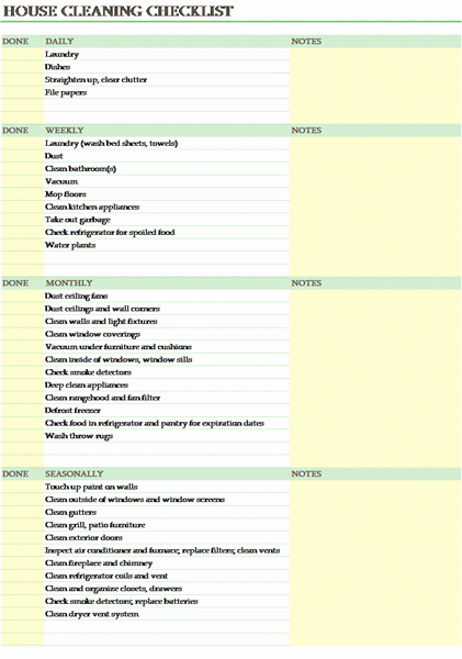House Cleaning Checklist Templates to Pin On