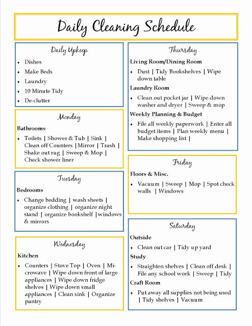 House Cleaning Daily House Cleaning Templates