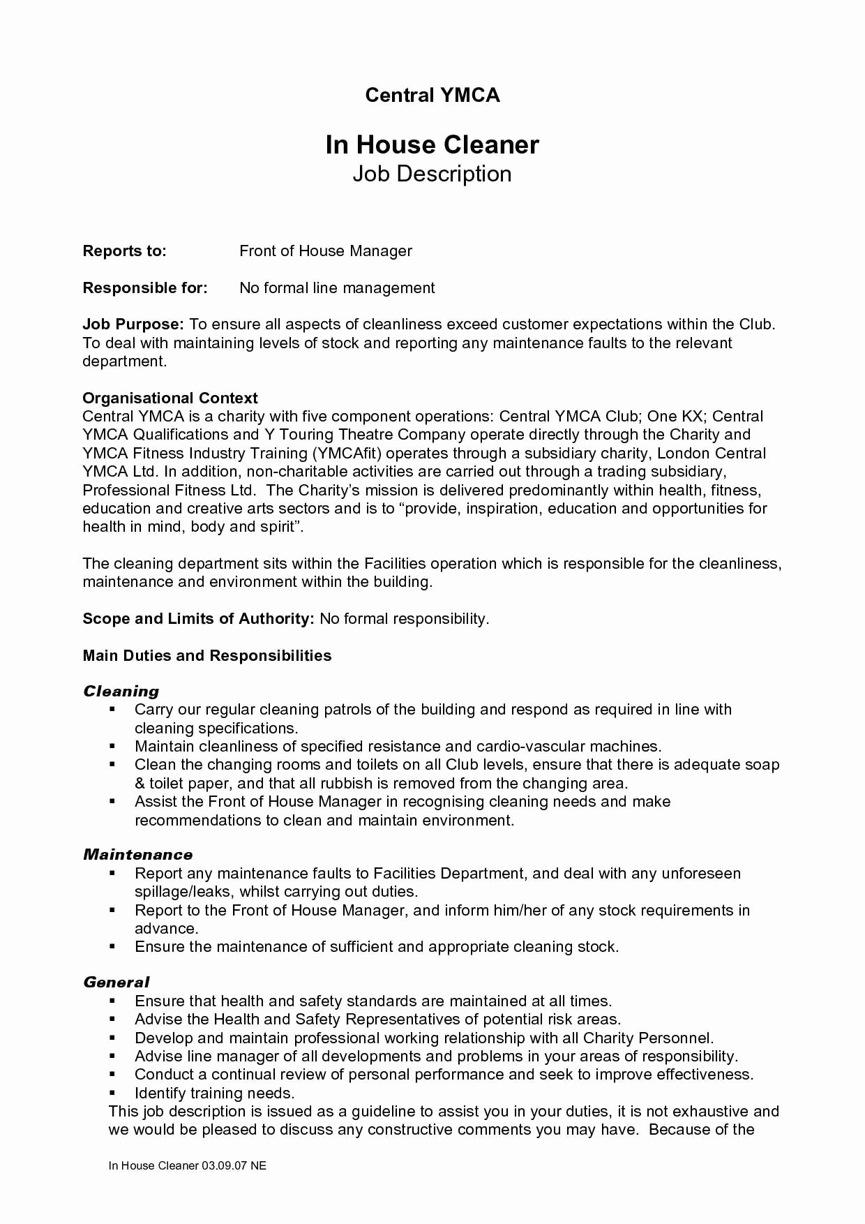 House Cleaning Job Description for Resume