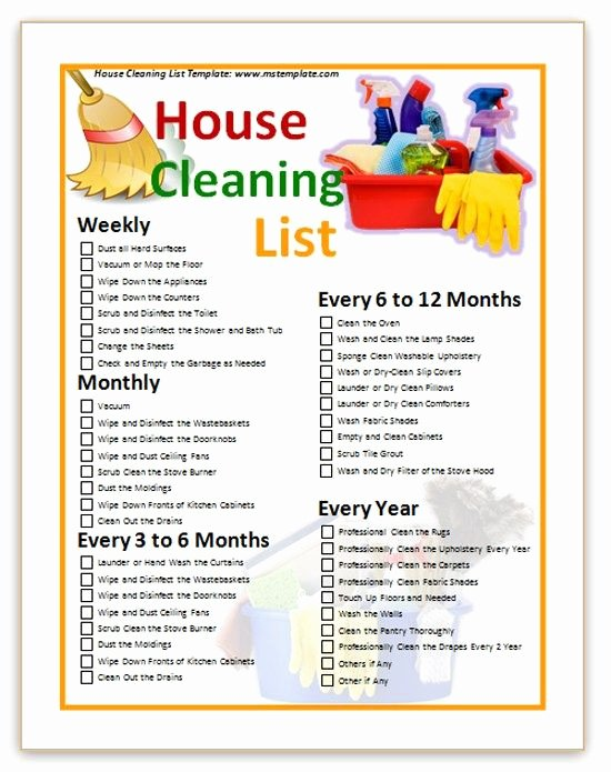 House Cleaning List Template Cleaning Tips