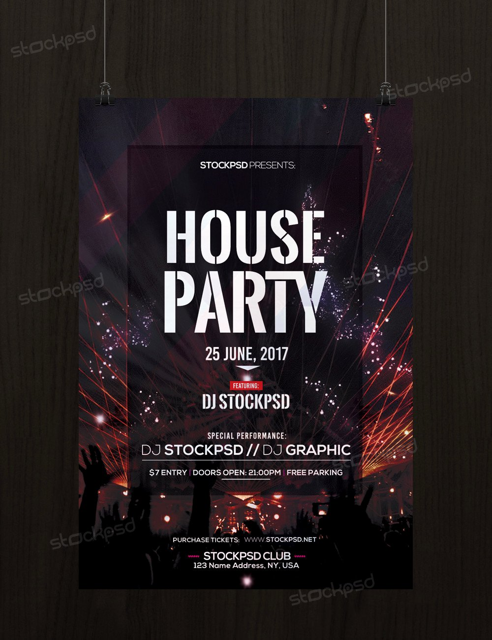 House Party Download Free Psd Flyer Template Stockpsd