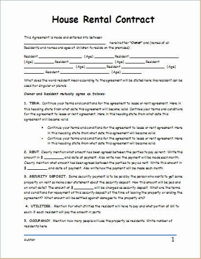 House Rental Contract Template for Word