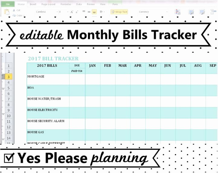 Household Bill Tracker Monthly Bills Spreadsheet Bill
