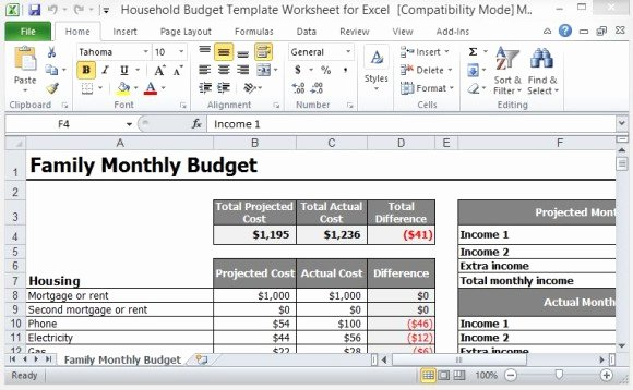 Household Bud Template Worksheet for Excel